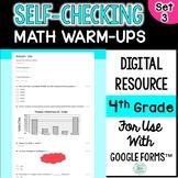 Digital Self-Grading and Self-Checking Math Warm-Ups or Morning Work 4th Grade