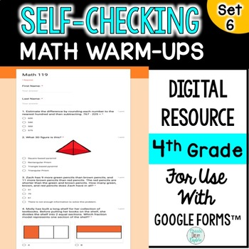 Digital Self-Grading and Self-Checking Math Warm-Ups or Morning Work 4th Grade