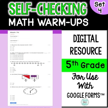 Digital Self-Grading and Self-Checking Math Warm-Ups or Morning Work 5th Grade