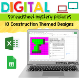 Digital Sheets/Excel Mystery Pictures   Construction Theme