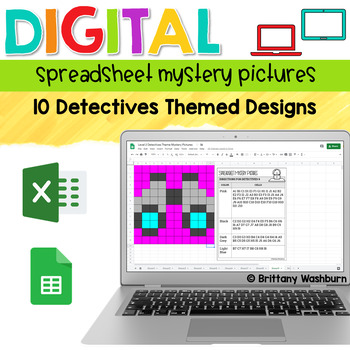 Digital Sheets/Excel Mystery Pictures | Detectives Theme