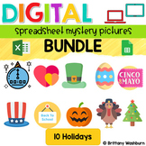 Digital Sheets/Excel Mystery Pictures   Holidays Theme Bundle