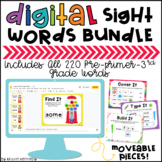 Digital Sight Word Activities Bundle: Pre-primer through 3