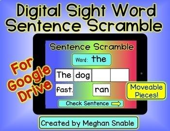 Digital Sight Word Sentence Scramble for Google Drive
