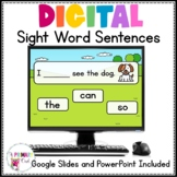 Digital Sight Word Sentences Google Slides and PowerPoint