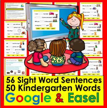 Digital Sight Word Sentences for Google Slides K/1