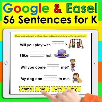 Digital Sight Word Sentences for Google Slides K/1