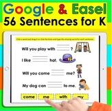 Digital Sight Word Sentences for Google Slides K/1 Distance Learning