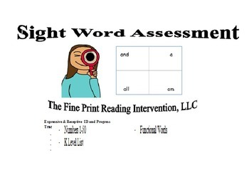 Combo Sight Words, Numbers, & Alphabet - Both Digital Assessments
