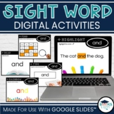 Digital Sight Words - Activities for Google Classroom for