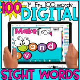 Digital Sight Words Fry's 1-100   for Distance Learning