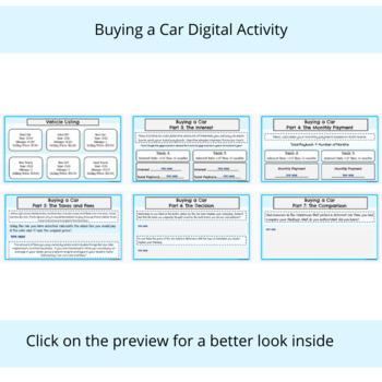Digital Simple Interest -Buying a Car- Google Slides-Editable