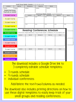 Digital Small Group and Reading Conferences Schedule Template for IRLA