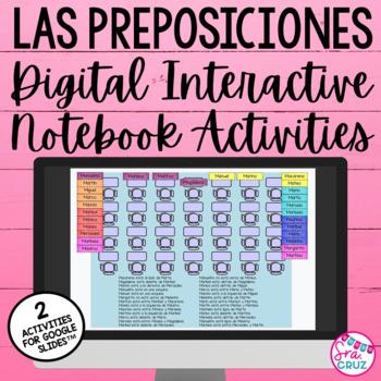 Digital Spanish Interactive Activity:  Las Preposiciones (for Google Drive)