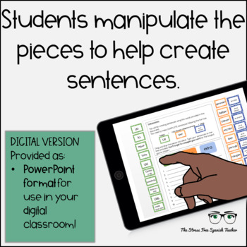 Digital Spanish Sentence Structure Building Practice with -ER / -IR verbs