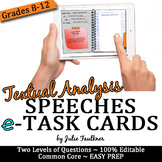 Digital Speech Analysis Task Cards, Response to a Text, Analysis of any Speech