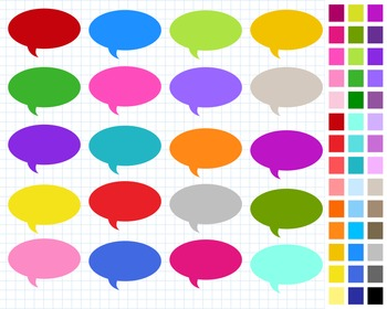 Digital Speech Bubble Pack, Labels Clipart, 43 Speech Bubbles