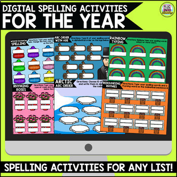 Digital Spelling Activities for the Year Bundle