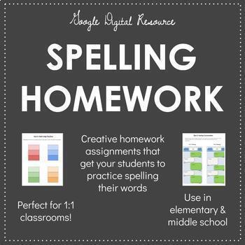 Digital Spelling Homework Activities - EDITABLE