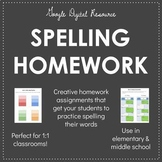 Digital Spelling Homework Activities - EDITABLE
