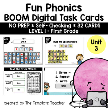 Digital Spelling Practice with BOOM Cards Level 1 Unit 3