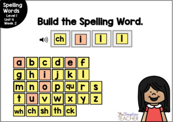 Digital Spelling Practice with BOOM Cards Level 1 Unit 4