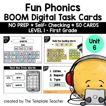 Digital Spelling Practice with BOOM Cards Level 1 Unit 6