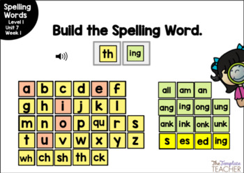 Digital Spelling Practice with BOOM Cards Level 1 Unit 7