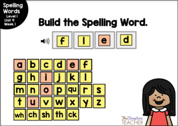 Digital Spelling Practice with BOOM Cards Level 1 Unit 9