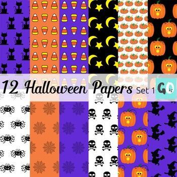 Halloween Papers, Witches, Skulls, Black Cats, Spiders