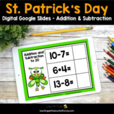 Digital St Patricks Day Math Activities - Addition and Sub