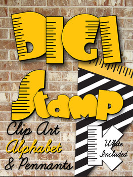 Digital Stamp Alphabet and Clip Art - Yellow and White