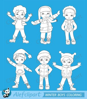 Digital Stamp Boys winter clothing clipart set
