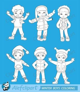 Digital Stamp Boys winter clothing clipart set
