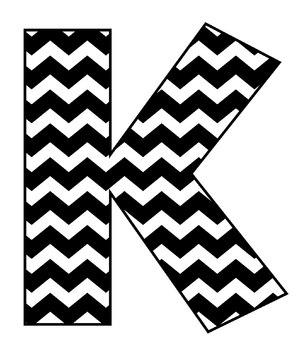 Chevrons Alphabet - Black & White - Digital Stamp Clip Art - 91pp PDF - 91 PNGs