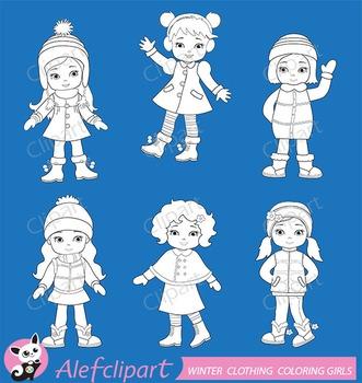 Digital Stamp Girls winter clothing clipart set