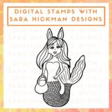 Digital Stamp of Charlie the Easter Mermaid