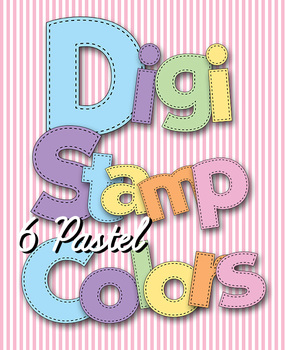 Digital Stamps - Alphabet in Stitches -Pastel Colors - 6 Alphabets