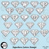 Digital Stamps, Superhero Letters Digital stamps, Line Drawing, AMB-289