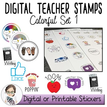 Digital Sticker, Badges and Teacher Stamps Bundle - Commercial Use Permitted