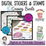 Digital Sticker, Badges and Teacher Stamps Bundle - Commer