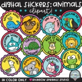 Digital Stickers Clipart Animals Theme {distance learning
