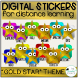 Digital Stickers Distance Learning Seesaw Stickers Gold Star Theme