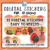 Digital Stickers Fall theme Spanish Pegatinas Digitales Otoño