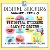 Digital Stickers Summer Spanish Pegatinas Digitales Verano