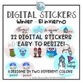 Digital Stickers Winter Theme Spanish Pegatinas Digitales