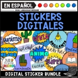 Digital Stickers in Spanish Clipart Bundle | Distance Learning