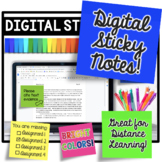 Digital Sticky Notes - BRIGHT Colors Clipart #math123
