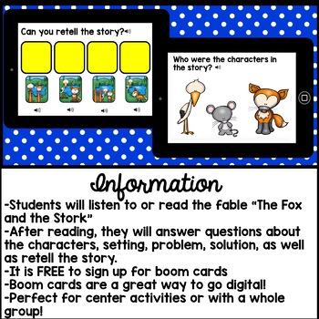 Digital Stories - Aesop's Fables The Fox and the Stork (Boom Cards)