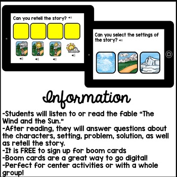Digital Stories Aesop's Fables The Wind and the Sun (Boom Cards)